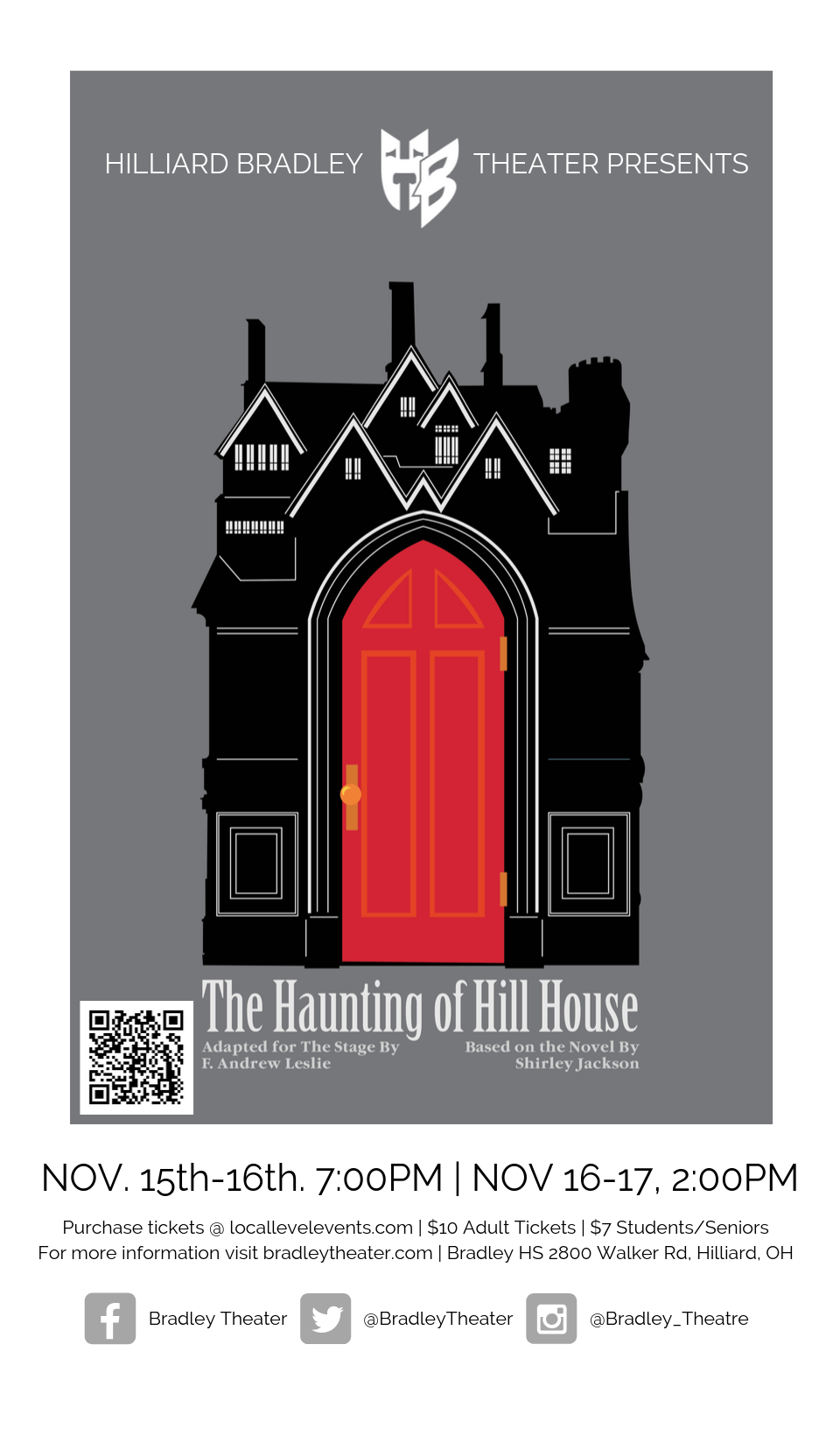 Local Level Events Hilliard Bradley Theater Presents The Haunting Of Hill House